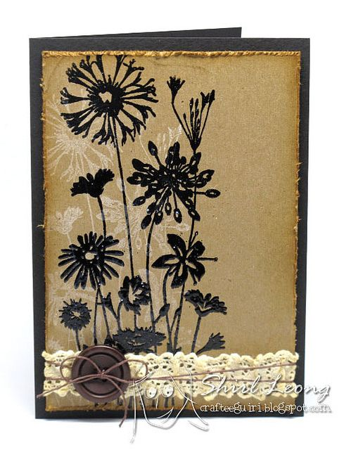 handmade card: Heat Embossing on Kraft by sitheng, via Flickr... this looks great on kraft!!
