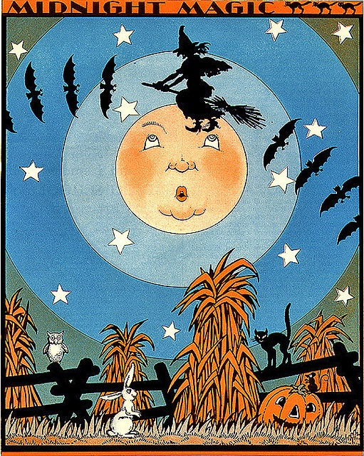 Halloween is all about the midnight magic! #vintage #Halloween #witch #moon