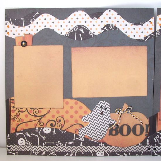 BOO Premade 2 Page 12x12 Scrapbook Layout by GLOwormpaperdesigns, $14.95