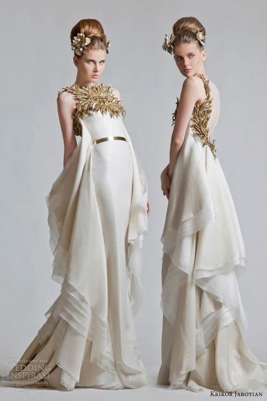 krikor jabotian bridal fall 2012 2013 gold ivory wedding dress