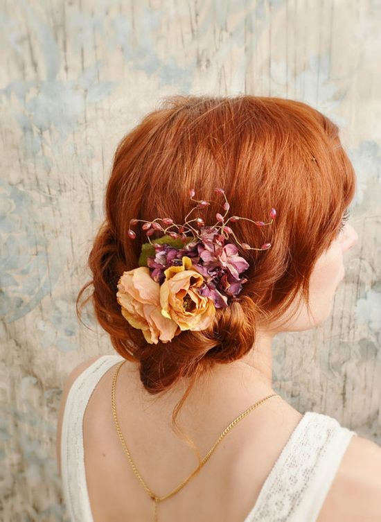 Rustic flower hair comb burnt orange floral by gardensofwhimsy, $34.00