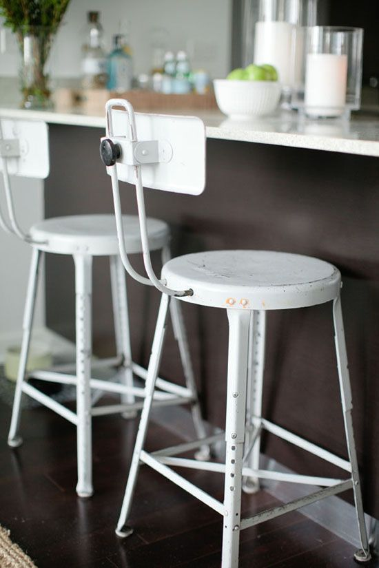 Vintage adjustable barstools from Danielle Moss' home in Rue Magazine