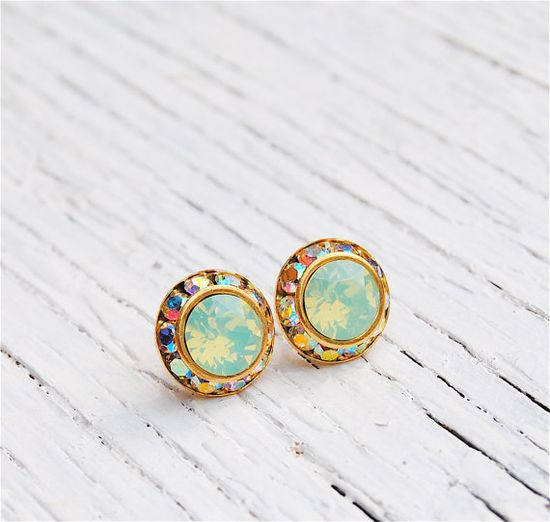 Opal Aurora Borealis Earrings  Sugar Sparklers Small  by MASHUGANA, $22.50