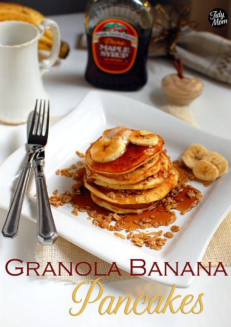 Granola- Banana Pancakes via @Cheryl Tidymom