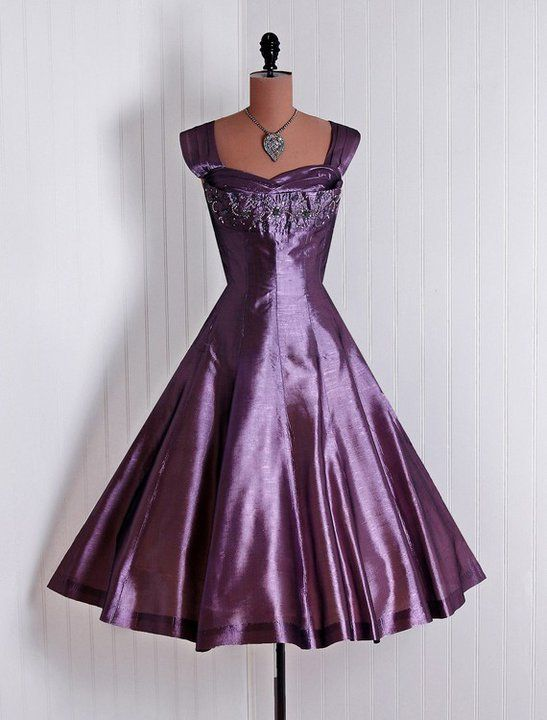 1950s purple party dress