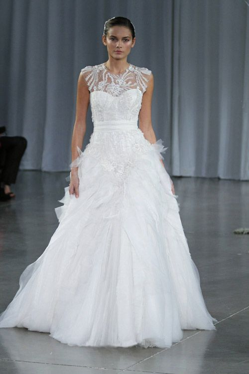 So glamorous! Monique Lhuillier wedding dress from her Fall 2013 bridal collection runway show