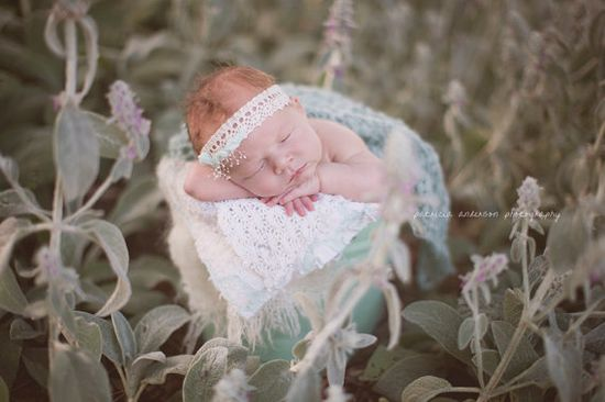 Newborn Lace Mint Bow Tieback by PetuniaandIvy on Etsy, $18.00