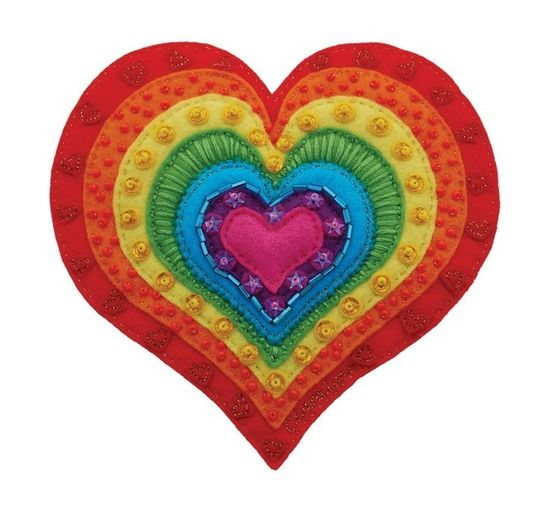hand stitched felted heart