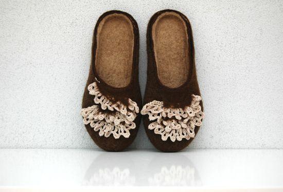 Hand felted slippers Coffee with cream handmade crochet by jurgaZa, $68.00