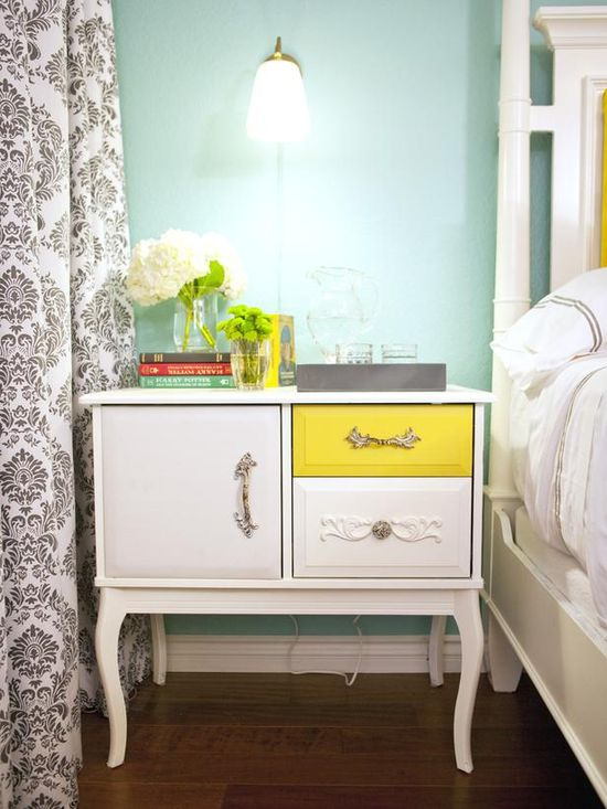 Eclectic Repurposed Dresser: Paint one drawer a bright color + use a variety of knobs. MORE Designer Ideas >> www.hgtv.com/...