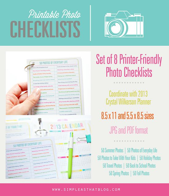 Printer Friendly Photo Checklists. 400 photo ideas and photography prompts to capture life all year long! #photography #inspiration
