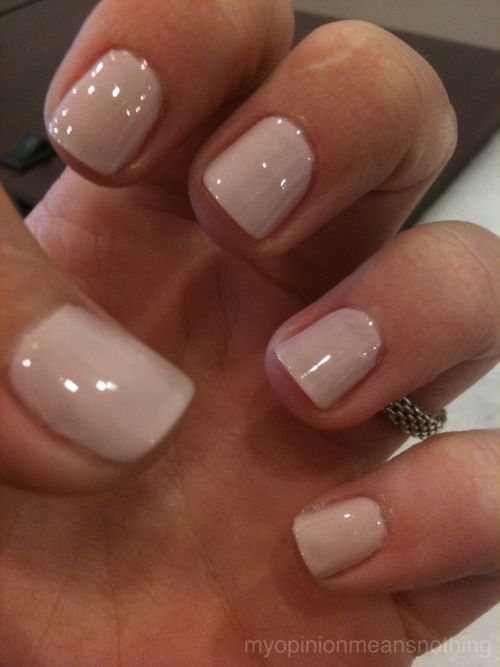 "Essie ""topless and barefoot"" nude manicure #nails"