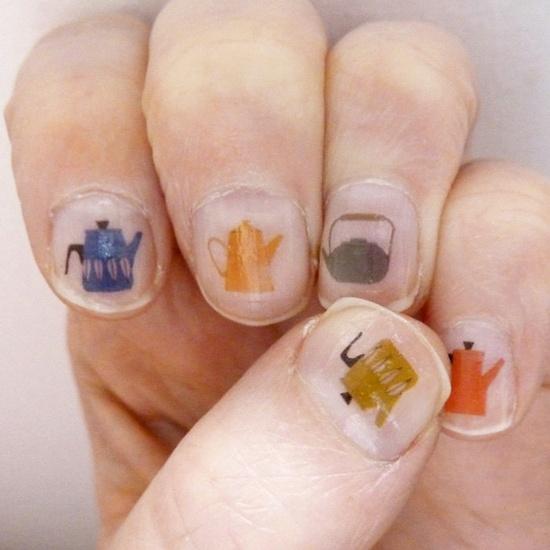 tea pot nail transfers - cute!