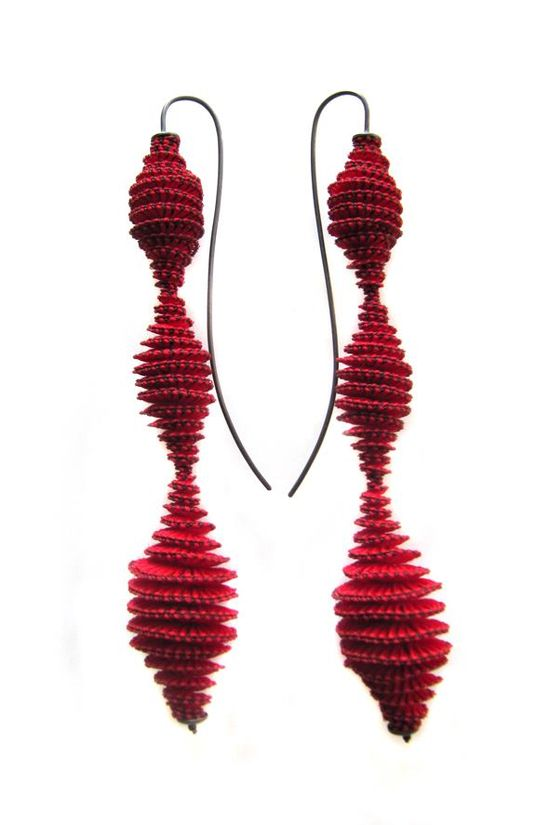 "Anke Hennig  earrings ""Anomaly 3""  rayon, nylon, glass beads,silver 925 oxydized"