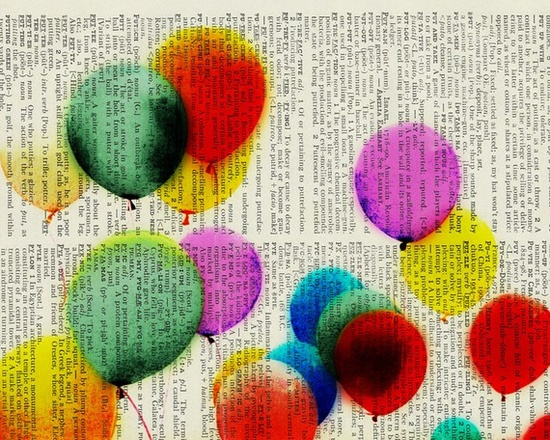 Festive balloons printed on old page from dictionary. Like, like, like!