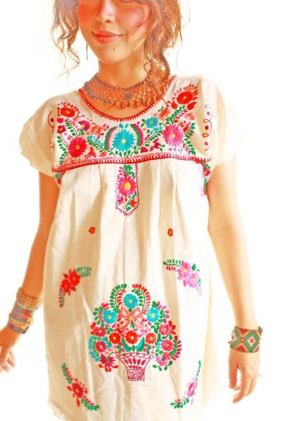 Las Florecitas ethnic embroidered dress