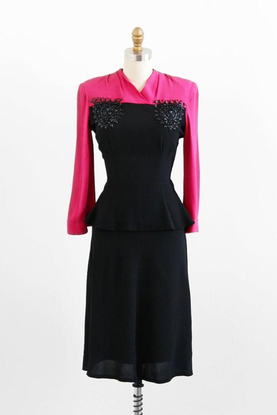 Vintage 1940s dress / 1930s dress / Hot Pink and Black Art Deco Studded Dress. Via Etsy.