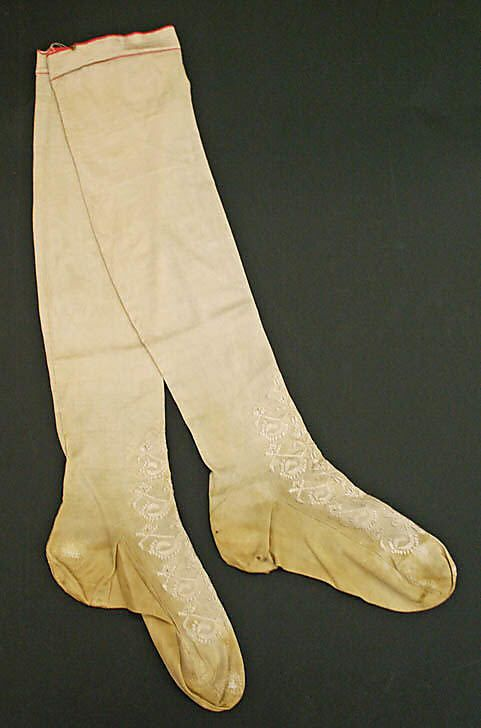 Wedding stockings    Date:      1850  Culture:      American or European  Medium:      silk  Dimensions:      Length (of leg (heel to top)): 22 1/2 in. (57.2 cm)Wedding stockings    Date:      1850  Culture:      American or European  Medium:      silk  Dimensions:      Length (of leg (heel to top)): 22 1/2 in. (57.2 cm)