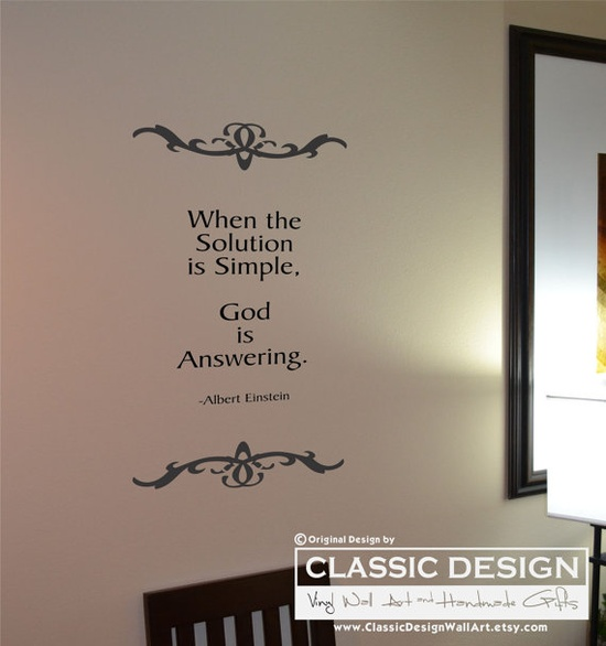 Vinyl Wall Decal  When the Solution is Simple  God by DecalDrama, $29.00