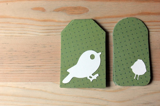 Spring Sale White and Olive Bird Gift Tag Set of by ElizaKPrints, $4.50