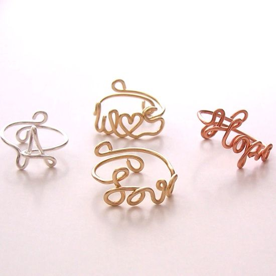 Ring . Wire Name Ring . Wire Initial Ring . Wire Word Ring . Personalized Ring . Wire Name Jewelry . Adjustable. $8.00, via Etsy.