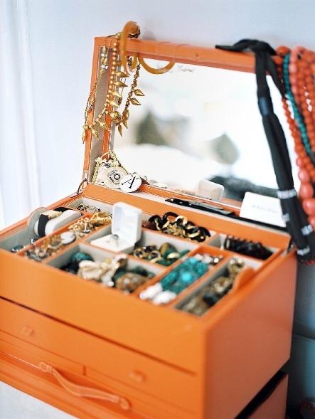 An orange jewelry box.