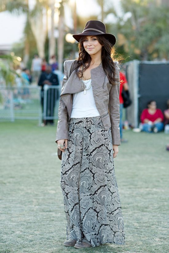 leather and print maxi skirt