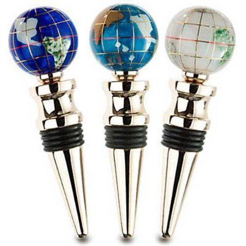 Gemstone Globe Bottle Stopper Set of Three With Gold Base by Alexander Kalifano. $41.18. When you throw a party or celebration, make sure you have our Gold Gemstone Globe Bottle Stopper Set of 3 on hand. The rubber seal on each shiny gold stopper will preserve the flavor and keep your wine fresh. The world globe on each stopper is designed with inlaid gemstones and small multi-colored continents. Engrave the Gold Gemstone Globe Bottle Stopper Set of 3 to create a uniqu...