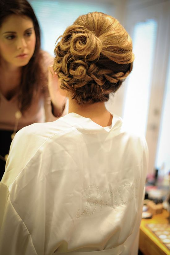Braided and twisted romantic wedding up do