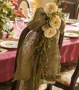 Love these burlap chair bows! :)
