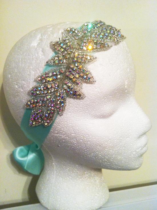 1920's Style Swarovski Crystal Encrusted Mint Silk Bridal Headband (other color silks available)  Spring Summer Vintage Wedding-Old Hollywood