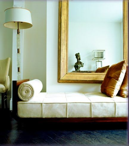 Stunning Interior....gorgeous chaise, mirror, etc.