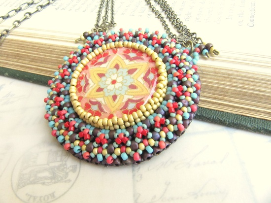 Beadwoven Mandala Pendant Necklace in Aqua, Fuschia, Yellow and Red with Brass Chain. $110.00, via @Marci Early Abney Carroll