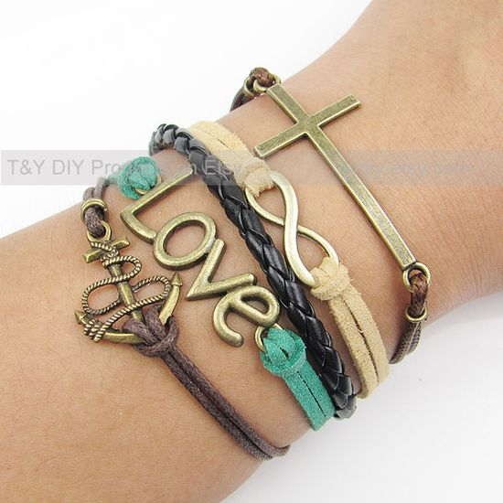 Cross Bracelet, Infinity Bracelet, Anchor Bracelet, Love Bracelet, Charm Bracelet, Thin Cord Leather Braid Bracelet Adjustable Weave Bangle. $9.99, via Etsy.