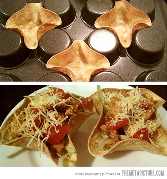 Yummy Taco Bowls-GREAT idea! Microwave, form, spray, salt, then bake at 375 for 8-10 minutes!