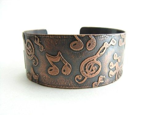 Copper Etched Music Notes Cuff Handmade Music Jewelry Musical Notes