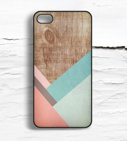iPhone Coral Striped Wood Pattern Case.