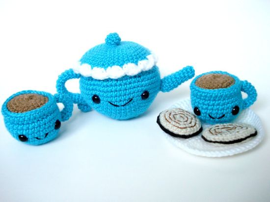 Crocheted Tea Set in Turquoise ONL by OmNomLindos on Etsy, $44.00