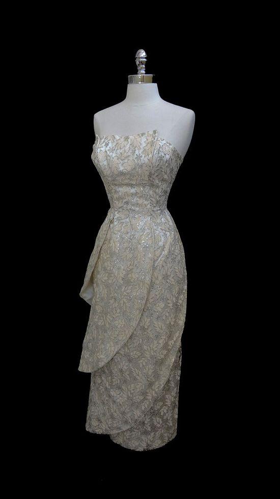 1950's Metallic Lace Satin Tiered Cocktail Dress
