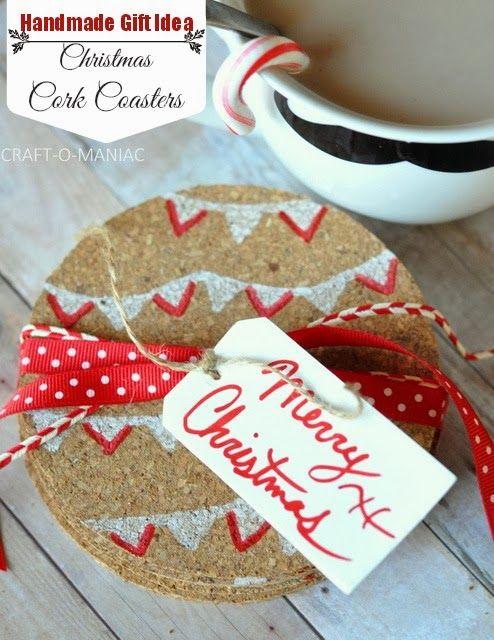 Handmade Gift- Christmas Cork Coasters #handmadegifts #christmasgiftideas