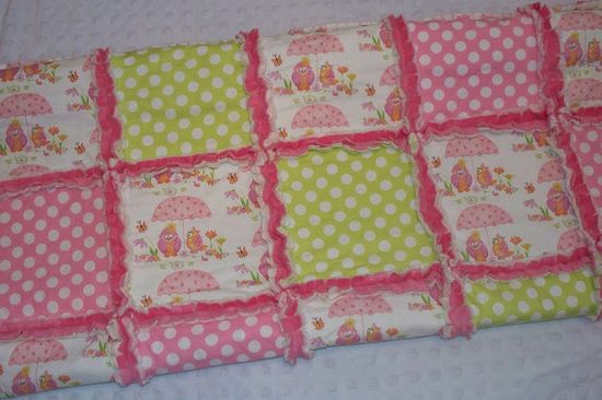 Owls and Polka Dots  Baby Girl Rag Quilt Pink by LittleTexasBabes, $45.00