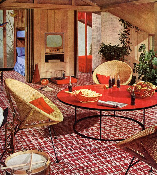 In just the right colors, a rug like this would be perfect in the living room with the weird green couch.