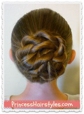 The twisted knot bun.  Another adorable and QUICK hairstyle from my favorite little-girl hair blog.