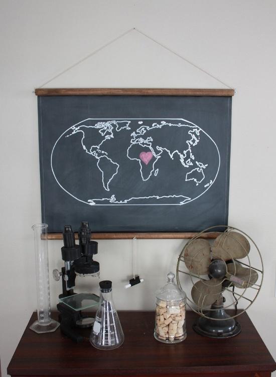 Chalkboard World Map - SMALL SIZE. $60.00, via Etsy.