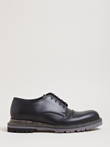Lanvin Men's Snakeskin Panel Derby Shoes