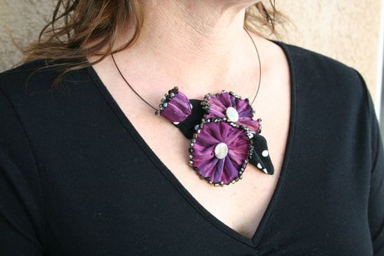 Statement Necklace Beaded Fabric Flower   by PaintFabricWhimsy, $30.00