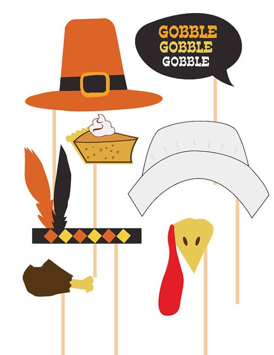 Thanksgiving Photobooth Props Celebration Props by LePapierStudio, $6.50