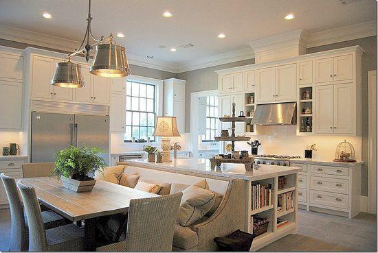 open kitchen, all white kitchen gray walls..SO beautiful, so simple.....