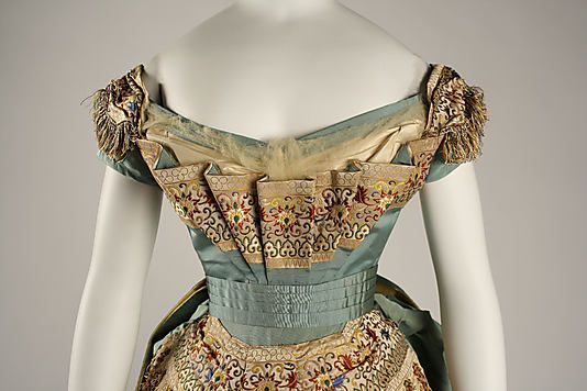Evening bodice. // Dress (Ball Gown)  House of Worth  (French, 1858–1956)  Designer: Charles Frederick Worth (French (born England), Bourne 1825–1895 Paris) Date: ca. 1872 Culture: French Medium: silk