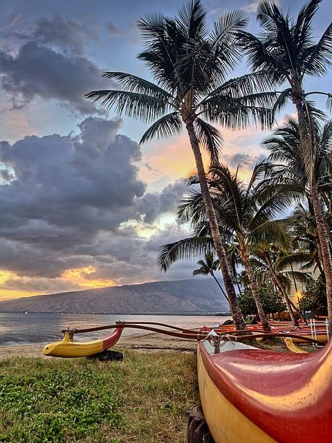Sunset at the Kihei Canoe Club beach on Maui.